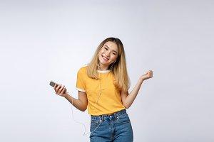 Portrait of a joyful satisfied asian