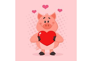 Pig Character Holding A Love Heart