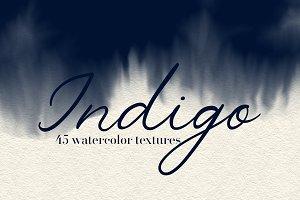 Blue Indigo - 45 Watercolor Textures