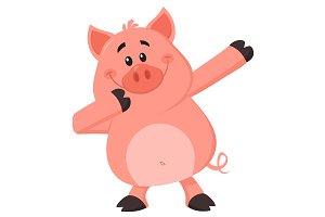 Dabbing Pig Cartoon Character