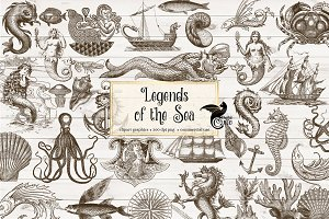 Vintage Ocean Nautical Sea Clipart