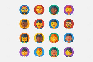 16 Flat People Avatars