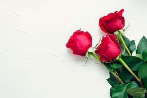 Red roses flowers with red hearts