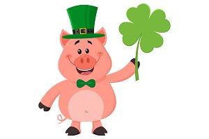 Happy Leprechaun Pig Character