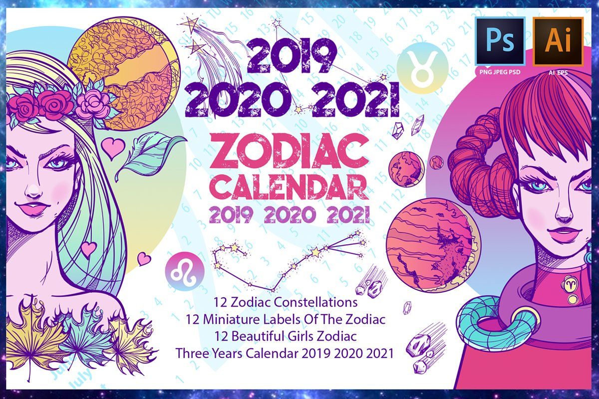 Zodiac Calendar 2019 2020 2021 ~ Illustrations ~ Creative Market