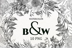 B&W Watercolor Wedding Clip Art.