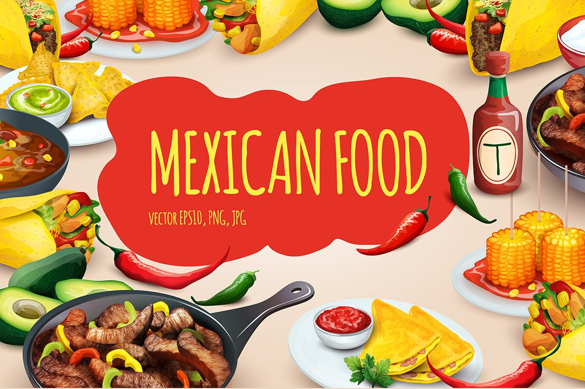 Mexican food vector set illustrations creative market for Poster deco cuisine