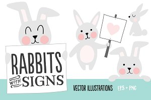 Rabbits with Signs Illustration Set