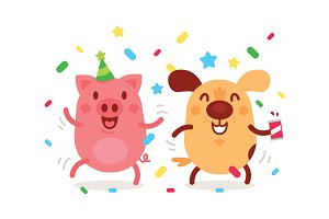 Party Cute Animals Pig and Dog