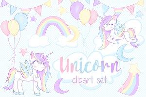 Unicorn Clipart Set