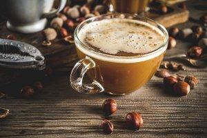 Homemade hazelnut coffee latte