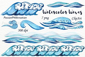 Watercolor Waves Borders Clipart