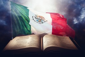 Holy Bible with a mexican flag