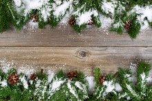 Snowy Borders on Wood