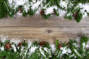 Snowy Borders on Wood
