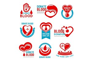 Vector icons for blood donation