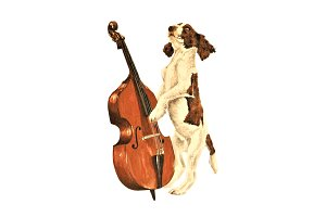 Oil Painting Dog Playing Double Bass