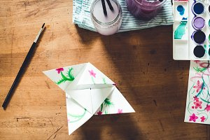 Watercolor and origami crafts