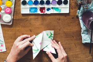 Watercolor and origami