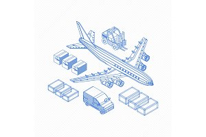 Wireframe of logistics icons