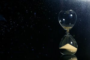 Isolated hourglass in the dark