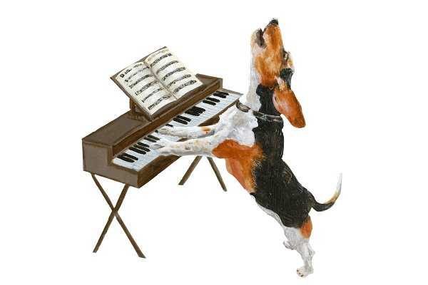 Illustrations: Doggy Days - Dog Playing Piano Oil Painting