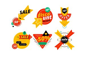 Set of discount banners with arrows