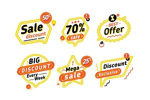 Set of speech bubbles with discount