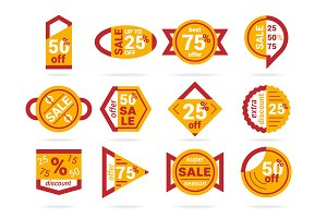 Set of geometric sale banners