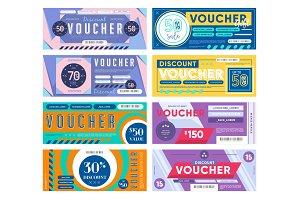 Set of various gift vouchers