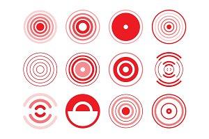 Set of various round emblems