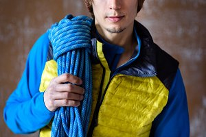 Fit young male athlete, rock climber