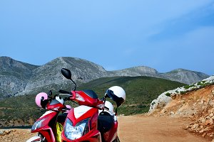 Travelling on a motorbike, on the ro