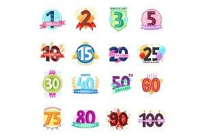 Anniversary badges vector birthday