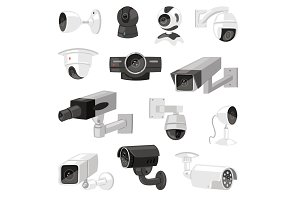 Security camera vector cctv control