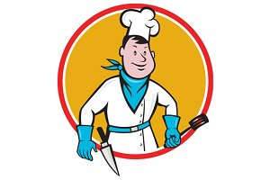 Chef Cook Holding Spatula Knife Circ