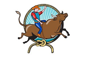 Rodeo Cowboy Bull Riding Lasso Carto