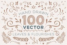 100+ Vector Leaves + Flourishes