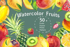 Watercolor tropical fruits.