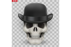Human skull with hat bowler