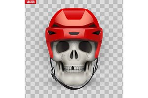 Vector Human skull with ice hockey