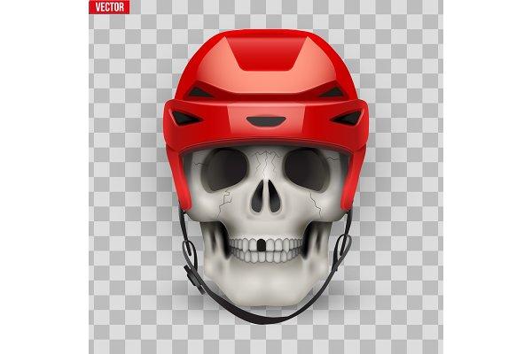 Vector Human skull with ice hockey