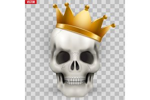 Vector Human skull with king golden