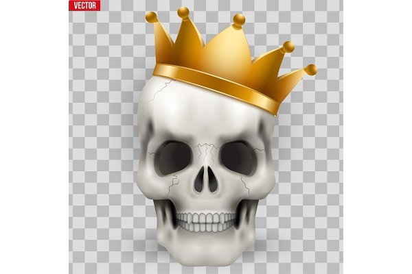 Vector Human skull with king golden