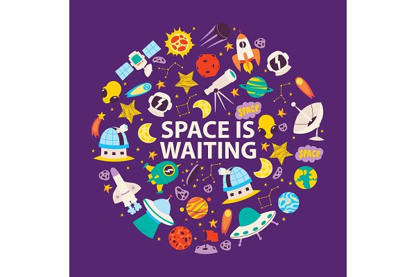 Space objects and planets. Space is
