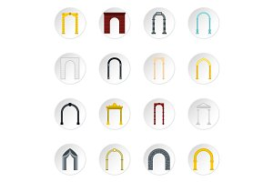 Arch icons set, flat style