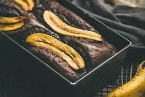 Freshly baked chocolate banana cake