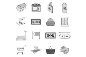 Supermarket icons set, gray