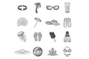 Summer travel icons set, gray
