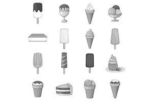 Ice cream icons set, gray monochrome